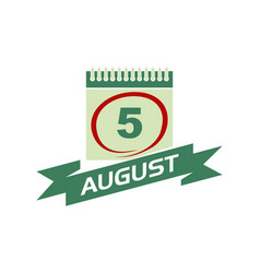 5 august calendar with ribbon vector