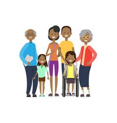 African grandparents parents children girl vector