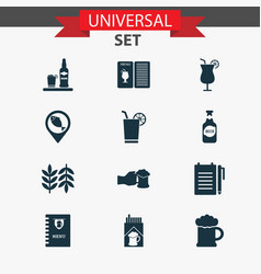 Alcohol icons set with bottle of beer bar menu vector