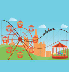 Amusement park in flat colorful with the ferris vector