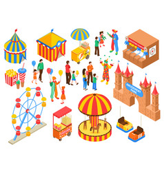 Amusement park isometric set vector