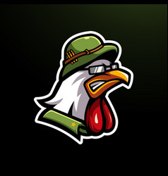 Angry chicken wearing military helmet vector