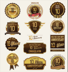 anniversary golden labels and badges 10 years vector image