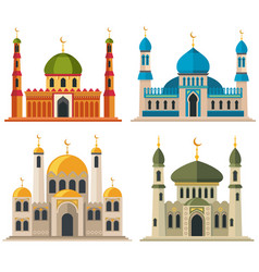 Arabic muslim mosques and minarets vector