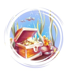 banner with treasure chest vector image