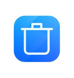 bin glossy flat icon remove and trash symbol vector image
