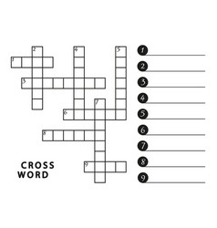 black and white crossword template page vector image