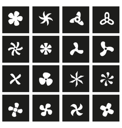 black fans and propellers icon set vector image