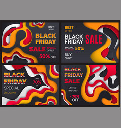 black friday special offer discounts sales set vector image