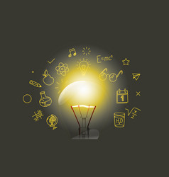 bright lightbulb with media doodle icons vector image