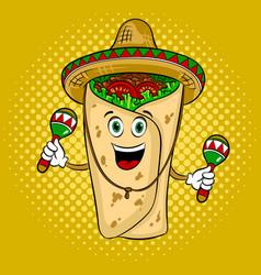 Burrito and maraca pop art vector