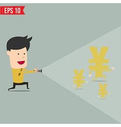 Businessman use flashlight find money vector