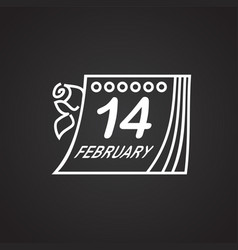 calendar date valentines day thin line on black vector image