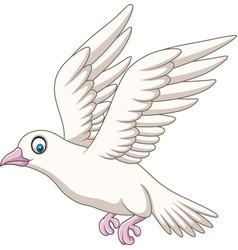 cartoon happy dove flying vector image