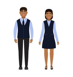 Children dressed in school uniform happy boy and vector
