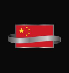china flag ribbon banner design vector image