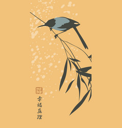 Chinese banner with magpie bird on a branch vector