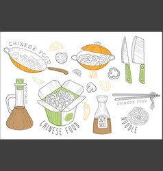 Chinese food cool promo labels collection vector