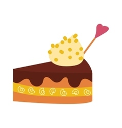Chocolate cream birthday cake slice topped pie vector