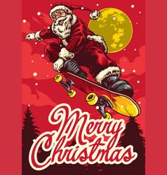christmas greeting card with santa claus riding vector image