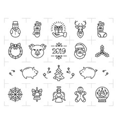christmas icons set zodiac year pig 2019 vector image