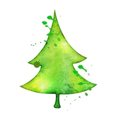 Christmas tree in watercolor trending style vector