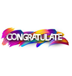Congratulate banner with colorful brush strokes vector