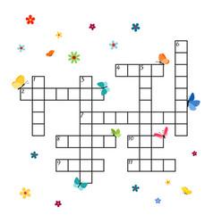 crossword template with butterflies vector image