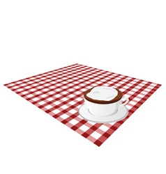 Cup coffee on tablecloth vector