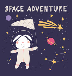 Cute bunny in space vector
