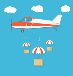 Delivery airplane with parachute box packages on vector