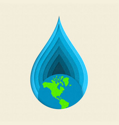 earth day paper cut water drop concept art vector image