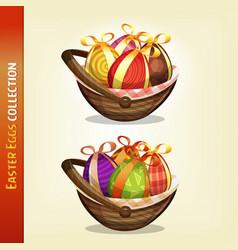easter eggs inside baskets vector image