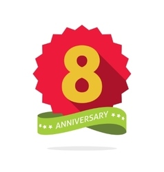 Eight anniversary badge with shadow red starburst vector
