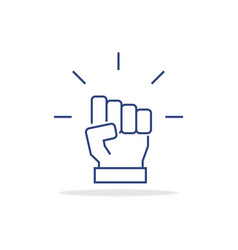 fist icon in thin line style symbol vector image