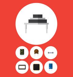 Flat icon appliance set of resistor transistor vector