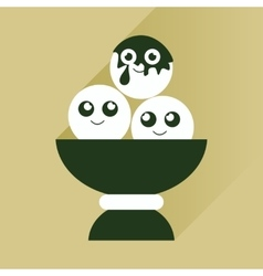 Flat icon with long shadow balls of ice cream vector
