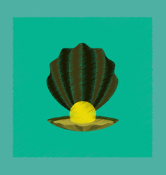 Flat shading style pearl mussel vector