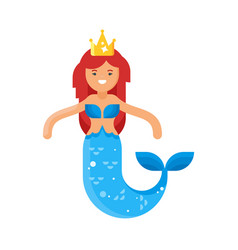 flat style of mermaid vector image