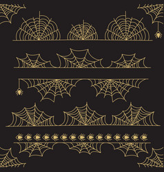 Gold halloween frame border and dividers vector