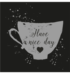 hand drawn ink cup with lettering vector image