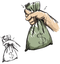 Hand grabbing a bag with money vector image
