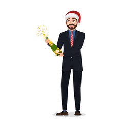 Happy bearded man opens champagne character in vector