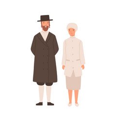Happy cartoon man and woman jews standing isolated vector