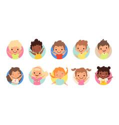 happy kids avatars cute children smiling boy vector image