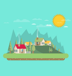 Houses flat style mountains and trees vector