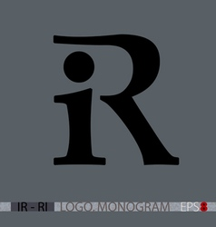 I-R or R-I monogram vector image