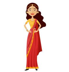 Indian business woman cartoon flat vector