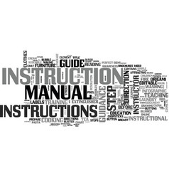 Instruction word cloud concept vector