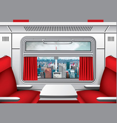 interior train wagon with window red curtains vector image